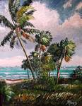 Windy Palms Along Indian River Lagoon by Mazz Original Paintings