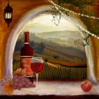 Tuscan Wine Art Prints & Posters by Anne Vis