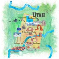 USA Utah State Travel Poster Illustrated Art Map
