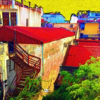 Vietnam Back alley Painting Yellow Sky