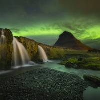 """Kirkjufell Mountain Northern Lights in Iceland by"" by cyorkphoto"