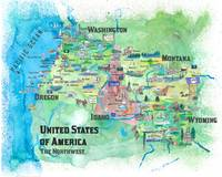 USA Northwest States Illustrated Travel Map