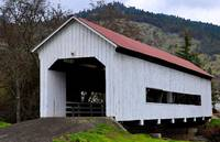 The Red Roofed Covered Bridge by Kirt Tisdale