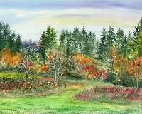 Watercolor Fall Landscape