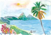 St Lucia Caribbean Dreams With Sunset and Pitons P