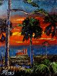 Fire sky over Okeechobee Farm by Mazz Original Paintings