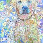 """Olivia White Lab Flower Dog Picture"" by RDRiccoboni"