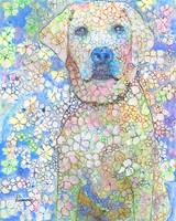 Olivia White Lab Flower Dog Picture