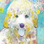 Velma the  Labradoodle Flower Dog by RD Riccoboni