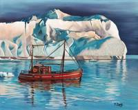 Original oil painting Iceberg and tug boat
