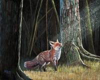 Original oil painting Red fox in forest