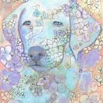 Violet White Labrador Retriever Flower Dog by RD Riccoboni