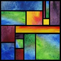 Abstract Watercolor Blocks Rainbow Fest