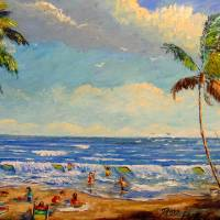 Swimming & Fishing at the Florida Beach Art Prints & Posters by Mazz Original Paintings