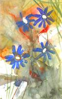 Flowers blue on red