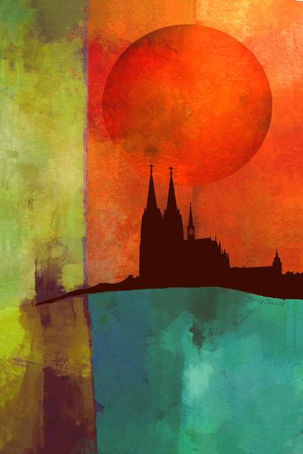 Cathedral Color Block Abstract By Jerry Bacik