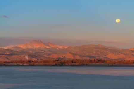 December Full Moon Setting Colorado Rocky Mountain
