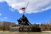 US Marine Corps Memorial Flag at Half Staff