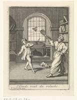 A teacher plays badminton with his pupil, Bernard
