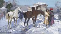 Alessio Issupoff Rural Winter Landscape with Horse