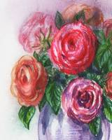 Impressionistic Rose Flowers Bouquet Watercolor