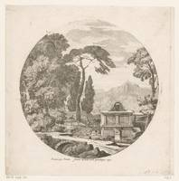 Arcadian landscape with a sarcophagus along a fore