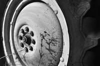 Tractor Wheel - Black and White