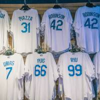 Dodgers Wall of Famers Art Prints & Posters by Lynn Bauer