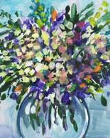 Impressionistic Flowers Bouquet Gorgeous Splash