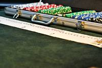 A Complete Set of Poker Chips In Case With Cards