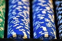 Green, Black and Blue Casino Chips Organized