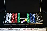 A Complete Chip Set Arranged Next To Cards