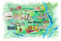 Iowa USA State Illustrated Travel Poster Favorite