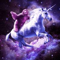 """Space Sloth Riding On Unicorn"" by RandomGalaxy"