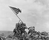 Raising American flag on Iwo Jima (1945)