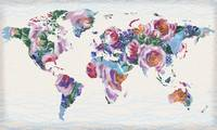 Abstract Floral World Map