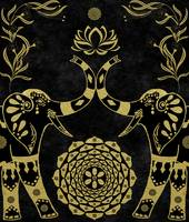 Lotus Flower Elephants Mandala Gold & Black