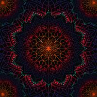 Bohemian Neon Dream Mandala Orange Pink Purple Blu