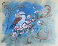 Acrylic Bird Painting: a Fluffy Bird with blossoms
