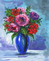 Bouquet Of Flowers In A Blue Vase Impressionism
