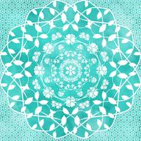 Hearts & Flowers Teal Green Blue Floral Mandala