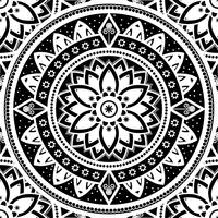 Black & White Patterned Flower Mandala