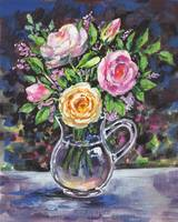 Tea Roses In The Glass Pitcher Impressionism