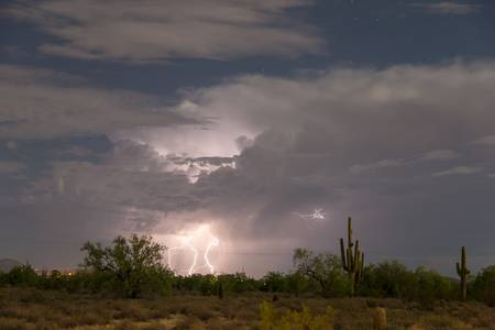 Desert Clouds Lightning and Stars