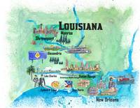 USA Louisiana State Travel Poster Map with Tourist