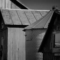 Four Farm Buildings Black and White by Karen Adams