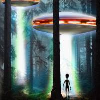 Ufo Alien Forest Art Prints & Posters by Anthony Poynton