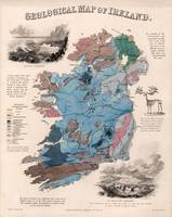 Vintage Geological Map of Ireland (1850)