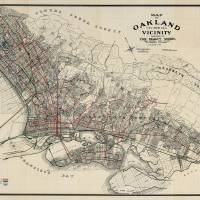 """Vintage Map of Oakland CA (1912)"" by Alleycatshirts"