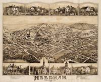 Vintage Pictorial Map of Needham MA (1887)
